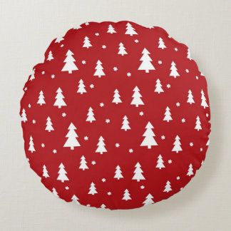 Holiday Tree Pattern Round Pillow