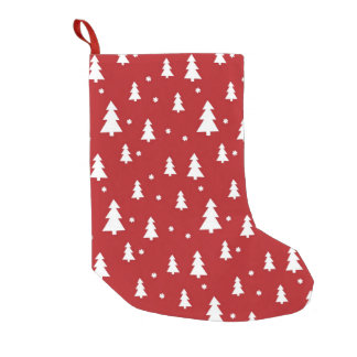 Holiday Tree Pattern Small Christmas Stocking
