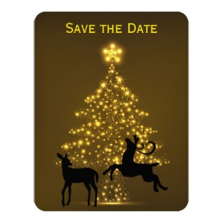 Holiday Tree with Deer Wedding Save the Date 4.25x5.5 Paper Invitation Card