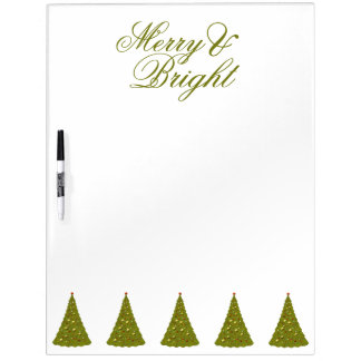 Holiday Trees Merry & Bright Green And White Dry-Erase Whiteboard