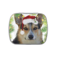 Holiday Tricolor Corgi Candy Tin