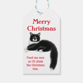 Holiday Tuxedo Cats Christmas Gift Tags