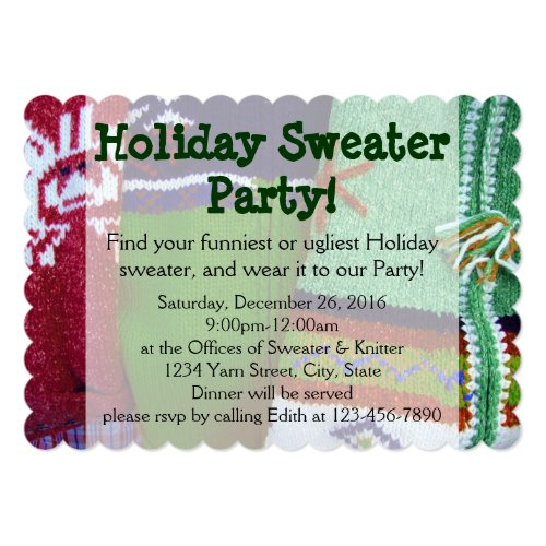 Holiday Ugly Christmas Sweater Party Invitations