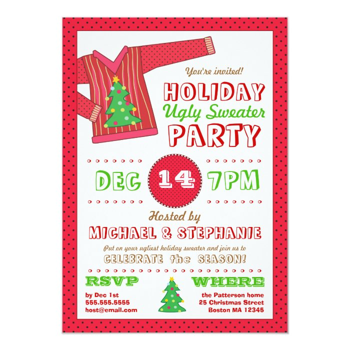 Holiday Ugly Sweater Christmas Party Invitation | Zazzle
