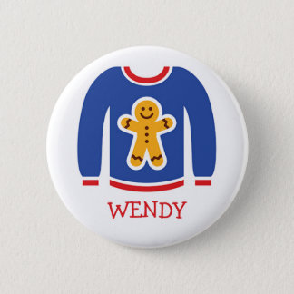 Holiday Ugly Sweater Party Name Tags Pinback Button