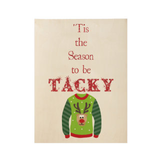 Holiday Ugly Sweater Wood Poster