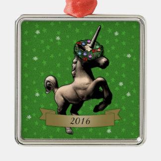 """""""Holiday Unicorn"""" Christmas Ornament w/Year (SqGr)"""