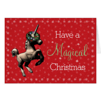 """Holiday Unicorn"" Magical Christmas Card (Red)"