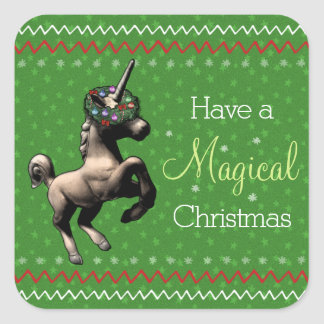 "Holiday Unicorn ""Magical Christmas"" Stickers (Grn)"