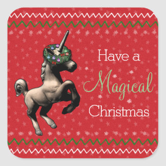 "Holiday Unicorn ""Magical Christmas"" Stickers (Red)"