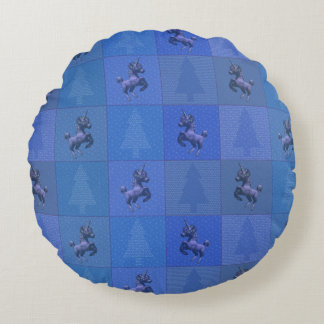 """Holiday Unicorn"" Quilted Round Pillow (Blue)"