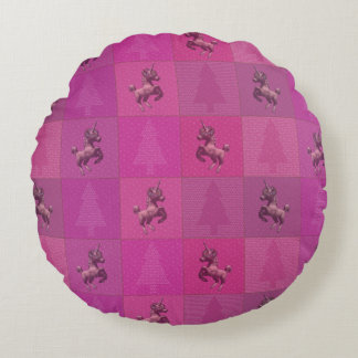 """Holiday Unicorn"" Quilted Round Pillow (Pink)"