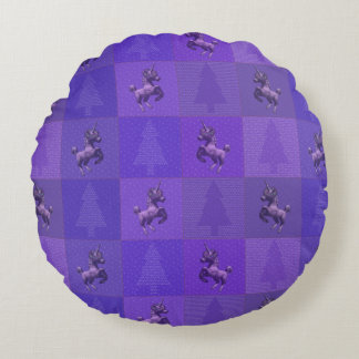 """Holiday Unicorn"" Quilted Round Pillow (Purple)"
