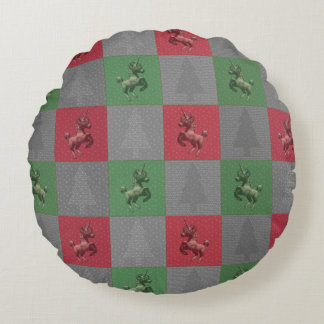 """Holiday Unicorn"" Quilted Round Pillow (R/G)"