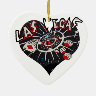 Holiday Vegas Hearts Ceramic Ornament