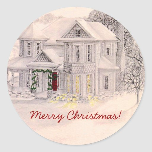 Holiday Victorian House Sticker
