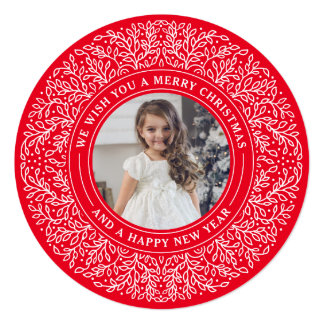 Holiday Vines in Berry Red Christmas Photo Card