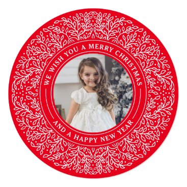Christmas Themed Holiday Vines in Berry Red Christmas Photo Card