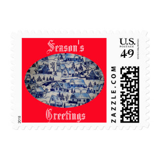 Holiday Vintage Blue/White Christmas Xmas Village Postage