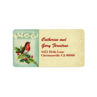 Holiday Vintage Christmas Singing Bird and Holly Labels