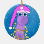 Holiday Violet Dinosaur Ceramic Ornament