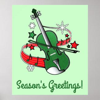 Holiday Violin Season's Greetings Poster
