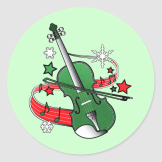 Holiday Violin with Notes and Snowflakes Classic Round Sticker