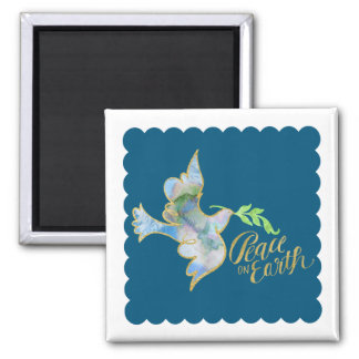 Holiday Watercolor Dove Gold Peace on Earth 2 Inch Square Magnet