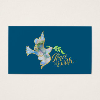 Holiday Watercolor Dove Gold Peace on Earth Business Card