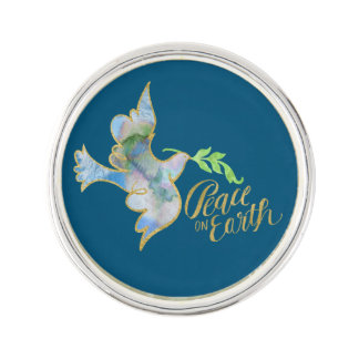 Holiday Watercolor Dove Gold Peace on Earth Pin