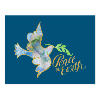 Holiday Watercolor Dove Gold Peace on Earth Postcard
