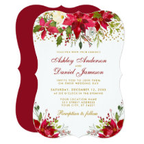 Holiday Wedding Poinsettia Floral Gold Glitter Red Invitation