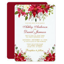 Holiday Wedding Poinsettia Floral Gold Red R Invitation