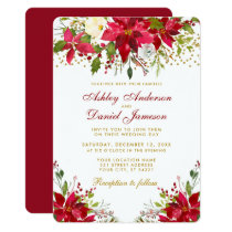 Holiday Wedding Poinsettia Floral Red Gold Glitter Invitation