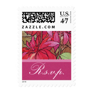 Holiday Wedding Poinsettias RSVP Postage Stamps