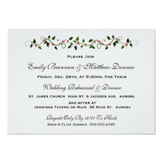 Holiday Wedding Rehearsal Dinner Invitation
