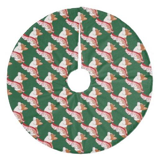Holiday welsh corgi cartoon with red ribbon fleece tree