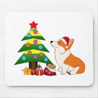Holiday Welsh Corgi Cartoon with Tree Mouse Pad