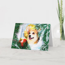 Holiday Welsh Corgi in the Winter Window