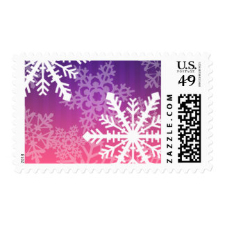 Holiday White Purple Pink Stripe Snowflakes Stamps