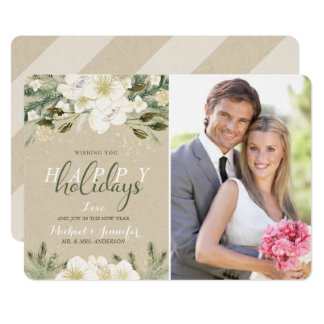 Holiday White Watercolor Floral Kraft Photo Card