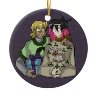 Holiday Wiglaf and Mordred ornament