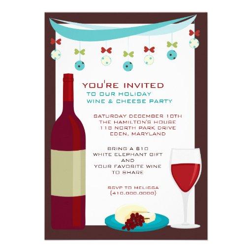 "Holiday Wine & Cheese Party Invitations 5"" X 7"" Invitation ..."
