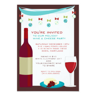 Holiday Wine & Cheese Party Invitations