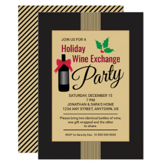 Holiday Wine Exchange Party Invite