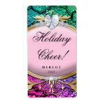 Holiday Wine Label Pretty Lace Pink Jewelry