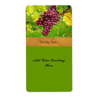 Holiday Wine Label with Red Grapes Template Shipping Label