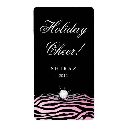 Holiday Wine Label Zebra Pink Diamond Black