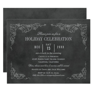 Holiday Wine Party Invitation | Black Chalkboard