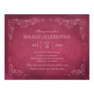 "Holiday Wine Party Invitation | Vintage Vineyard 4.25"" X 5.5"" Invitation Card"
